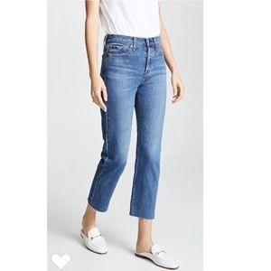 Levi's Wedgie Straight Raw Hem Crop Jeans